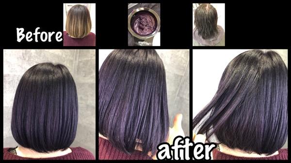 大阪でカラー剤とマニパニのダブルカラーで再現する濃厚バイオレットがお洒落!【みさとさん】の髪
