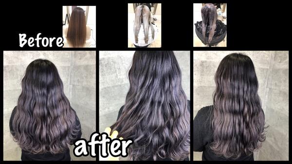 大阪でアールブリーチからのラベンダーグレーを再現するトリプルカラー【さなえさん】の髪
