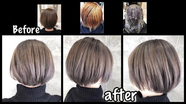アールブリーチを使って1週間後に綺麗なミルクティーカラーに!【みきさん】の髪