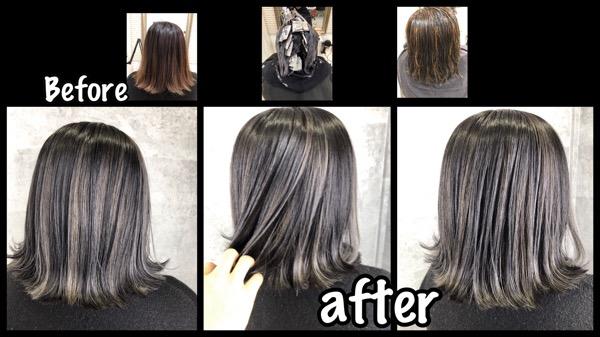 大阪でハイライトと濃厚アッシュグレーの外国人風カラーが大人気!!【ゆいさん】の髪