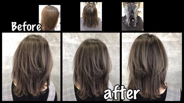 大阪で白髪を染めながらアッシュカラーに染めたい方へのプロセス【まゆみさん】の髪