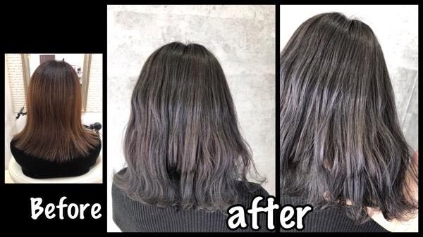 大阪でホワイトアッシュの透明感抜群の外国人風カラー【かえでさん】の髪