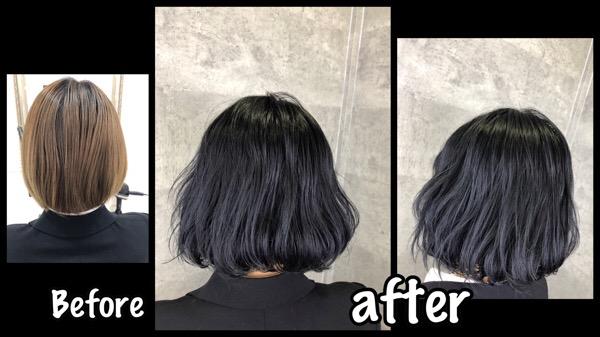 大阪で濃厚ブルーブラックでお洒落な黒髪だけど透明感抜群!【りゆさん】の髪