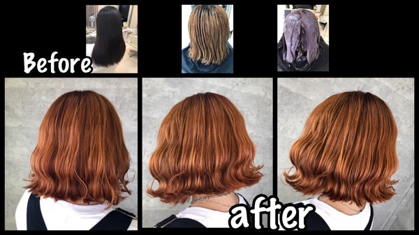 大阪でオレンジカラーをアールブリーチを使って再現したら可愛すぎた!!【みゆうさん】の髪