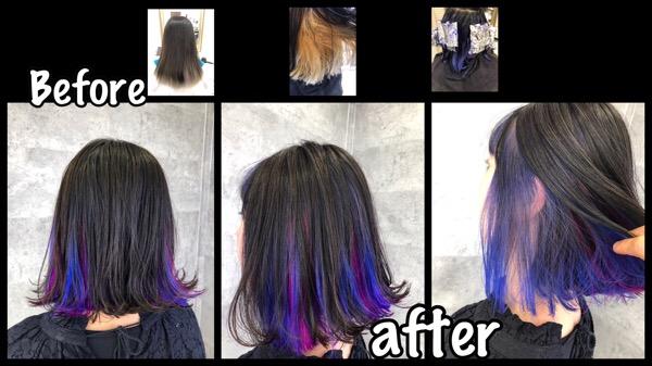 切りっぱなしボブ×ブルーのインナーカラーがお洒落なデザインカラー【さきさん】の髪