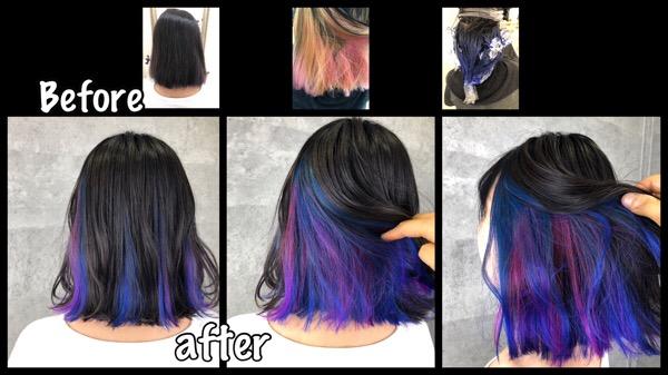 大阪でインナーカラーの青とピンクが可愛いお洒落カラー【さきさん】の髪