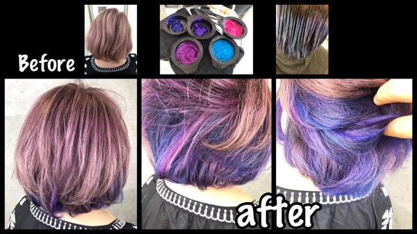 大阪で白髪を染めながらピンクベースにパステルユニコーンインナーカラー【えりこさん】の髪