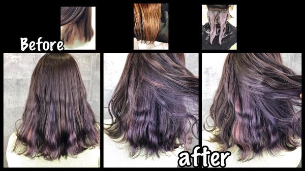 大阪でピンクパープルのインナーカラーでサクラ色に!可愛い!【ももこさん】の髪