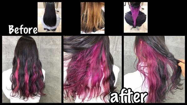 大阪で初めてのインナーカラーピンクとグレーのお洒落デザインカラーが可愛い!【ななみさん】の髪
