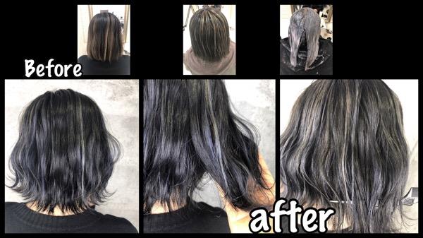 大阪で外国人風カラーをハイライトと濃厚グレーで再現する方法【ひとみさん】の髪