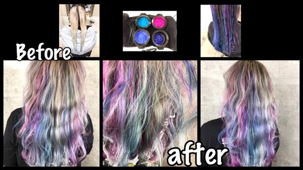 大阪で白髪を染めながらアールブリーチで作るトロピカルデザインカラーが可愛いすぎた!【しずかさん】の髪