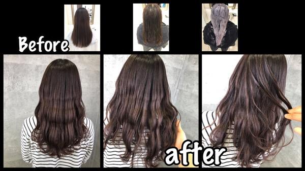 大阪でブリーチなしでラベンダーグレーを再現するダブルカラー【ゆきさん】の髪