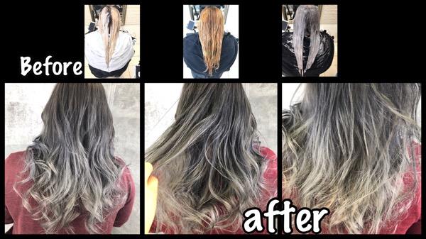 大阪でアールブリーチをして外国人風のシルバーグレーに白髪を染めながら再現する!【ゆみこさん】の髪