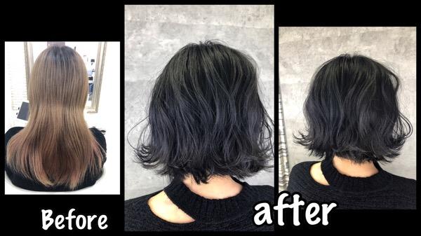 大阪で黒染めに見えない青黒染めがお洒落な黒髪になれる方法!【さやさん】の髪