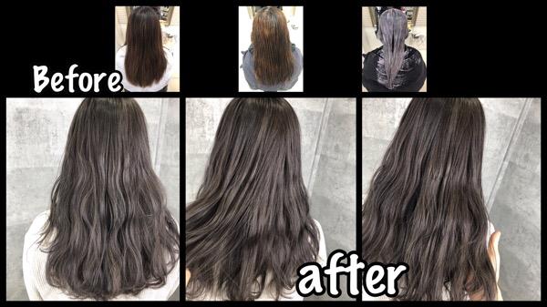 大阪でアールブリーチからの濃厚なブルーバイオレットは色落ちもめちゃくちゃ綺麗な外国人風カラー【はつみさん】の髪