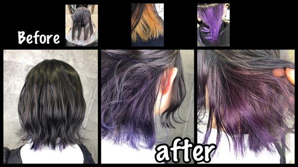 大阪でラベンダーのインナーカラーを綺麗に染める為に【まいのさん】の髪