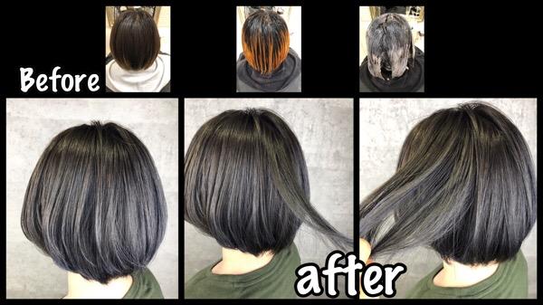 大阪でシルバーグラデーションを再現する為にアールブリーチの積み重ね!【さおりさん】の髪