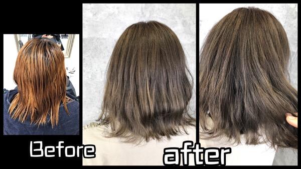 大阪で白髪を染めながら赤味をなくし外国人風カラーにしていく積み重ねのプロセス【ちはるさん】の髪