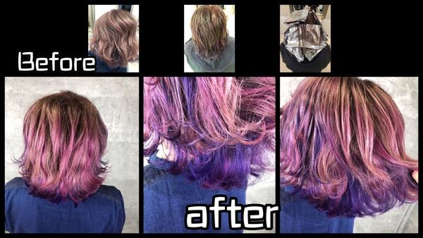 大阪で白髪を染めながらラベンダーとピンクのデザインカラーが可愛過ぎる【えりこさん】の髪