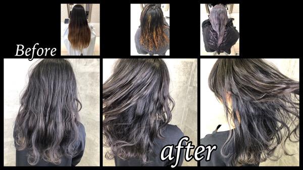 大阪でハイライトとインナーカラーをしながらシルバーグレーのグラデーションで染めたら綺麗すぎた!【りえこさん】の髪