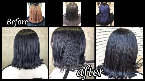 大阪で濃厚な鮮やかなネイビーカラーを再現するにはダブルプロセスが必要!【みゆうさん】の髪