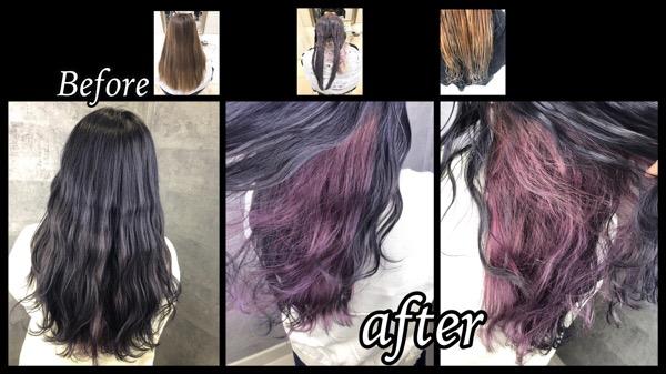 大阪で透明感のあるピンクのインナーカラーをカラー剤で再現してみた!!【さなえさん】の髪
