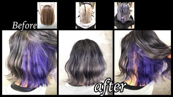 大阪でラベンダーのインナーカラーとシルバーグレーのグラデーションが綺麗すぎた!【さりあさん】の髪