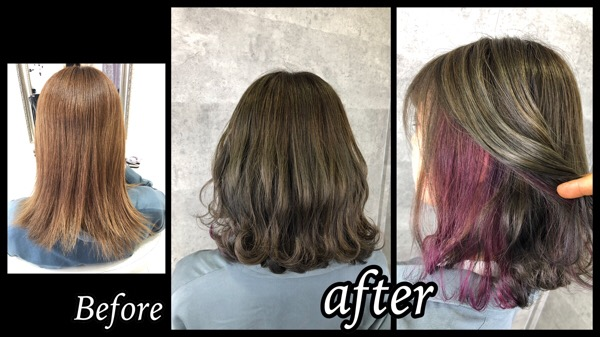 カーキ色を大阪で再現!ポイントインナーカラーのピンクも可愛い!【かえでさん】の髪