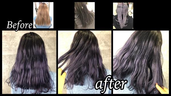 大阪でブリーチ毛から色持ちを良くする濃厚ラベンダーアッシュの染め方【いろはさん】の髪