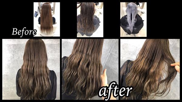 白髪を染めながら大阪でダブルカラーをする事で再現する外国人風カラー【かえこさん】の髪