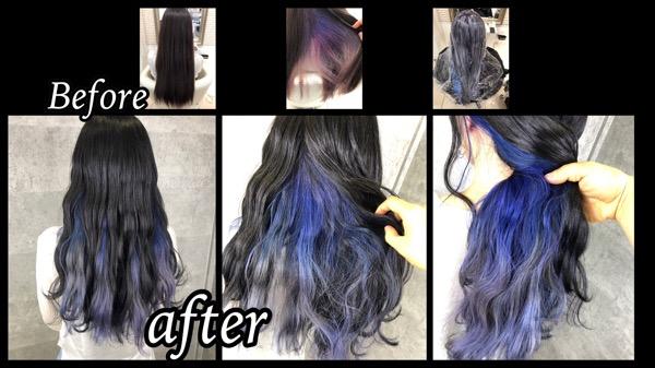 インナーカラーブルーホワイトを大阪でお洒落なデザインカラー!【りささん】の髪