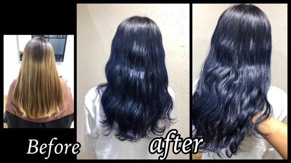 大阪でネイビーカラーを再現するために必要なプロセスはこれだ!【なつきさん】の髪