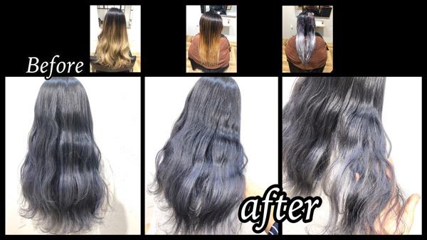 大阪梅田でホワイトシルバーのグラデーションカラーが染めれる美容院【あきさん】の髪