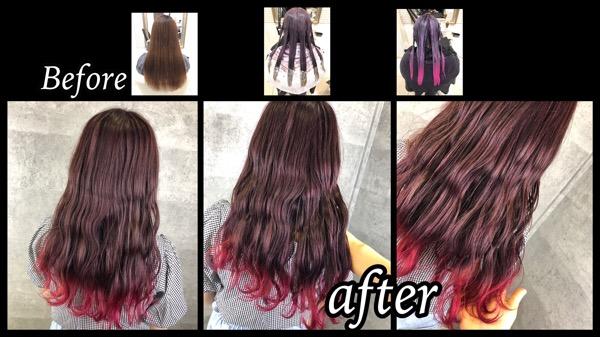 大阪でグラデーションピンクがしたい!お洒落なデザインカラーの染め方はこれだ!【ゆりえさん】の髪