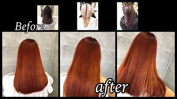 大阪でオレンジカラー!ブリーチから濃厚に染めたら綺麗すぎた!【ゆきこさん】の髪