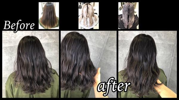 大阪でブリーチからのラベンダーシルバーを濃厚に染めると透明感抜群!【りかさん】の髪