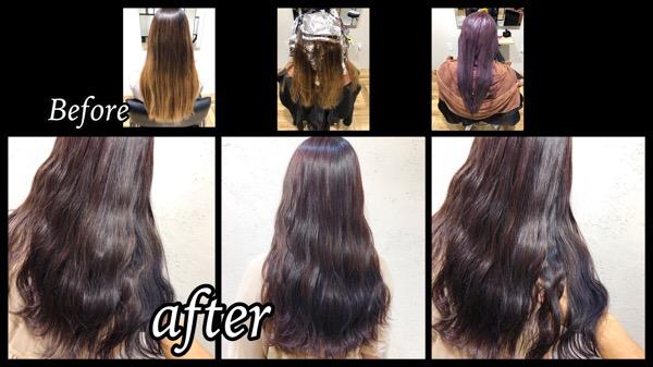 大阪梅田でハイライトからのピンクグレーのグラデーションカラーが透明感抜群!【りえさん】の髪