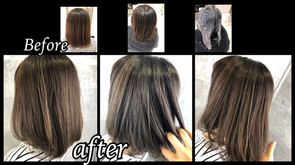 大阪豊中で白髪を染めながらハイライトを入れた外国人風カラーで透明感を引き上げる!【あやこさん】の髪