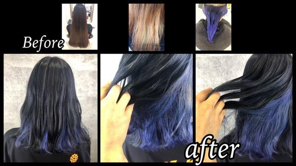 大阪でボブに似合うブルーのインナーカラーと濃厚グレーが可愛い!【みなみさん】の髪