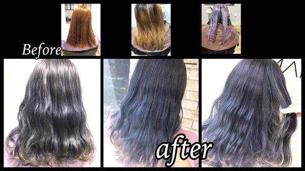 大阪梅田でハイブリーチからのシルバーグレーのナチュラルグラデーションカラーがお洒落【きょうかさん】の髪