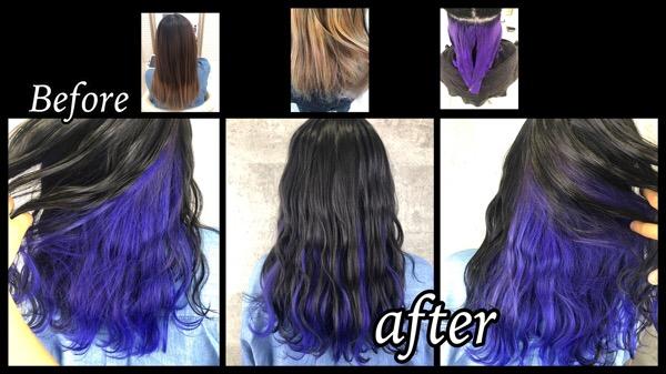 大阪豊中で毛先とインナーをマニパニで青紫にしたら可愛すぎた!!【あけみさん】の髪