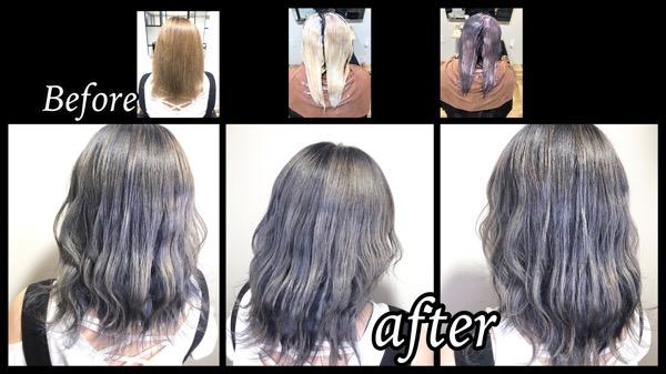 大阪豊中でブリーチを積み重ねるホワイトグラデーションの外国人風カラー【えりさん】の髪