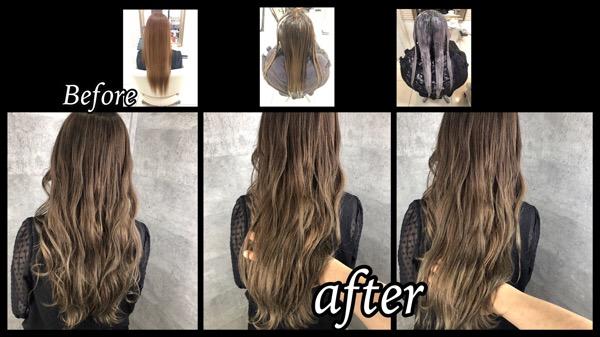 豊中で白髪を染めながらシルバーグレーにしていく為の赤味を減らす外国人風カラー【かえこさん】の髪
