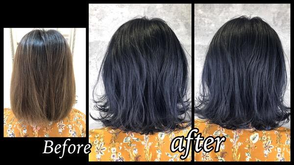 大阪で超濃厚なネイビーでブルーブラックに染めたら綺麗すぎた!【さやさん】の髪