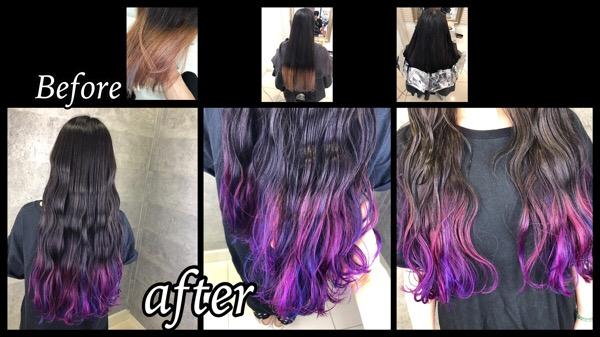 大阪でピンクとラベンダーの毛先カラーがお洒落すぎた!!【ほのかさん】の髪