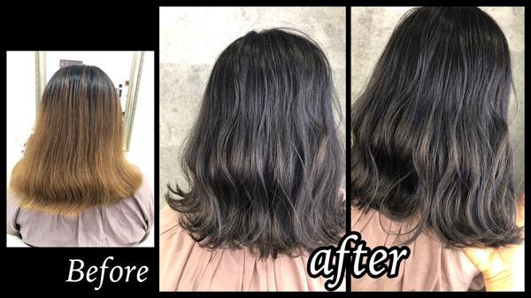 大阪豊中でブリーチベースからのスモークグラデーションカラーが綺麗!【ゆいさん】の髪