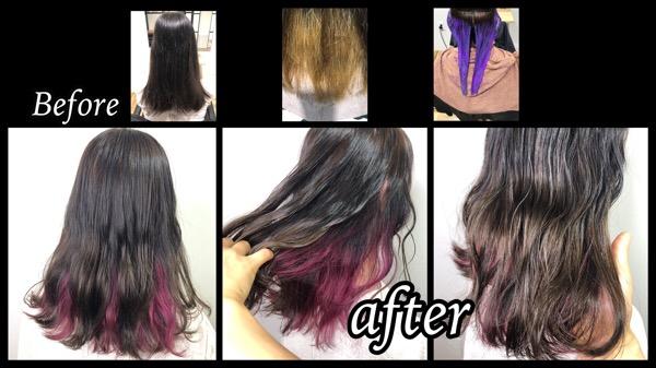 大阪梅田でさり気ないお洒落なピンクのインナーカラーが可愛い!【まいさん】の髪