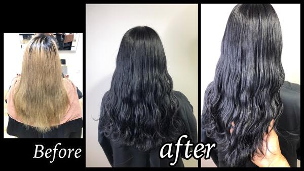 大阪梅田でハイブリーチ毛からの超濃厚グレーで作るお洒落な黒髪が綺麗!【きょうこさん】の髪