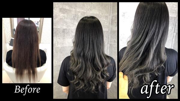 大阪豊中で濃厚なカーキグレーで退色しても赤味の出にくい濃厚カラーが人気!【きみよさん】の髪