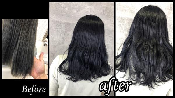 大阪豊中で赤味のない濃厚なグレーで透明感のある黒髪に!【きょうかさん】の髪